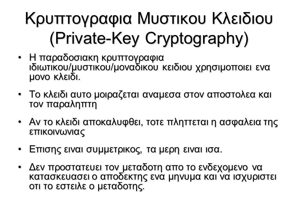 Kρυπτογραφια Μυστικου Κλειδιου (Private-Key Cryptography)