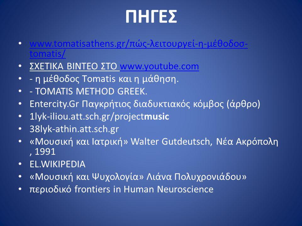 ΠΗΓΕΣ www.tomatisathens.gr/πώς-λειτουργεί-η-μέθοδοσ-tomatis/