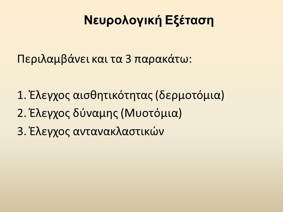 Νευρολογική Εξέταση Περιλαμβάνει και τα 3 παρακάτω: 1. Έλεγχος αισθητικότητας (δερμοτόμια) 2. Έλεγχος δύναμης (Μυοτόμια)