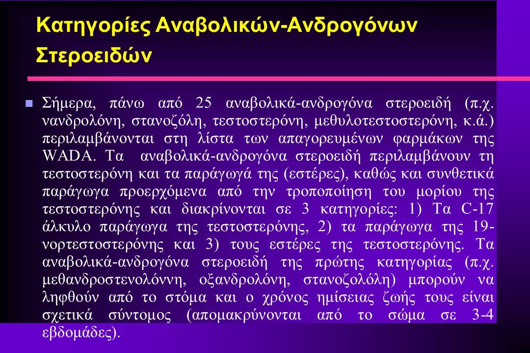 Κατηγορίες Αναβολικών-Ανδρογόνων Στεροειδών