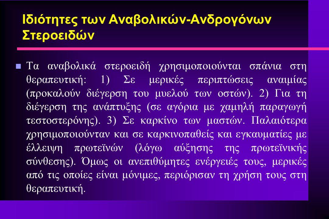 Ιδιότητες των Αναβολικών-Ανδρογόνων Στεροειδών