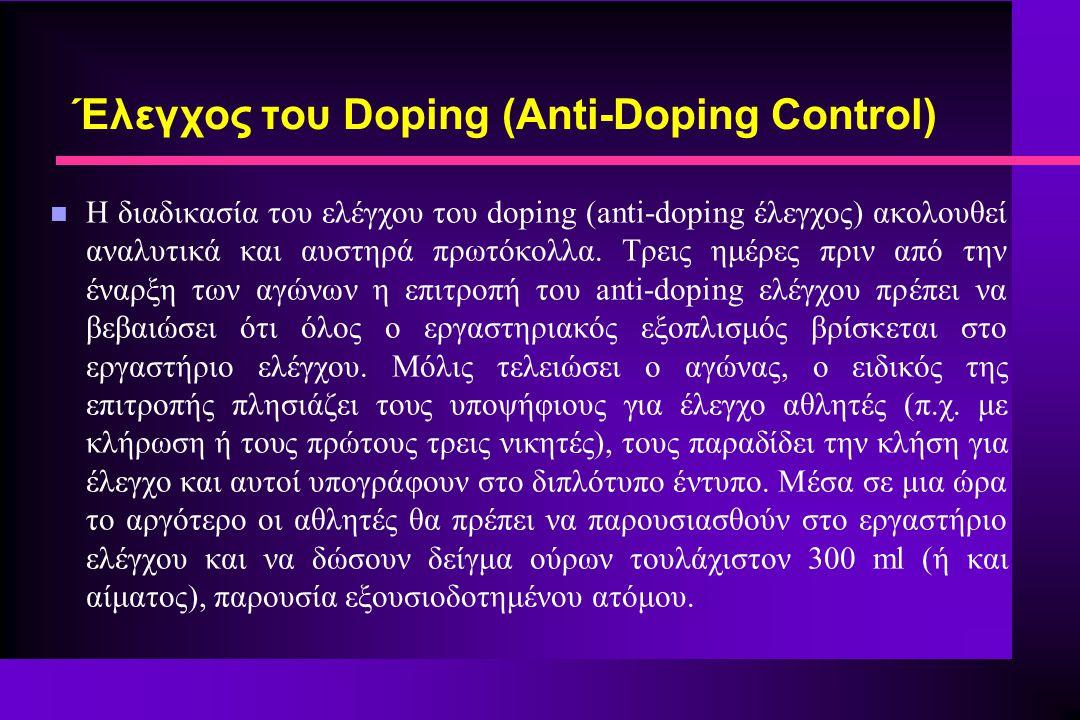 Έλεγχος του Doping (Anti-Doping Control)