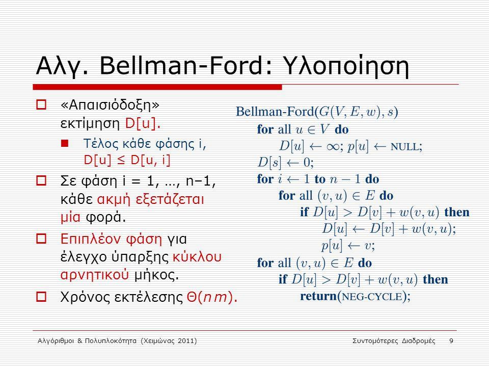 Αλγ. Bellman-Ford: Υλοποίηση