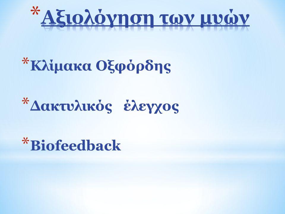 Αξιολόγηση των μυών Κλίμακα Οξφόρδης Δακτυλικός έλεγχος Biofeedback