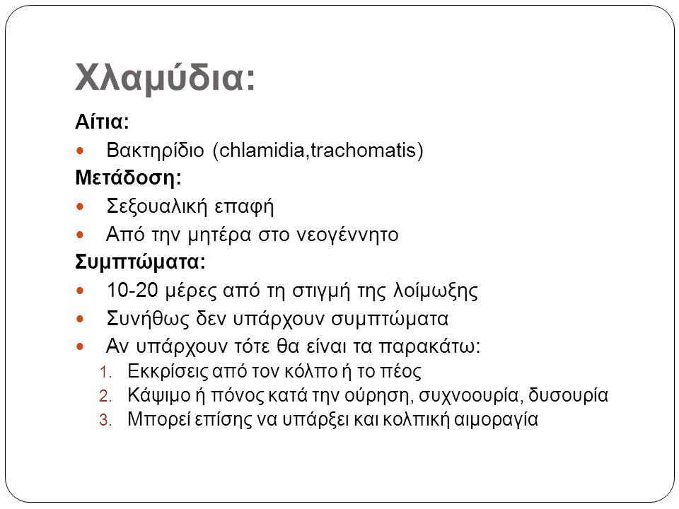 Χλαμύδια: Αίτια: Βακτηρίδιο (chlamidia,trachomatis) Μετάδοση: