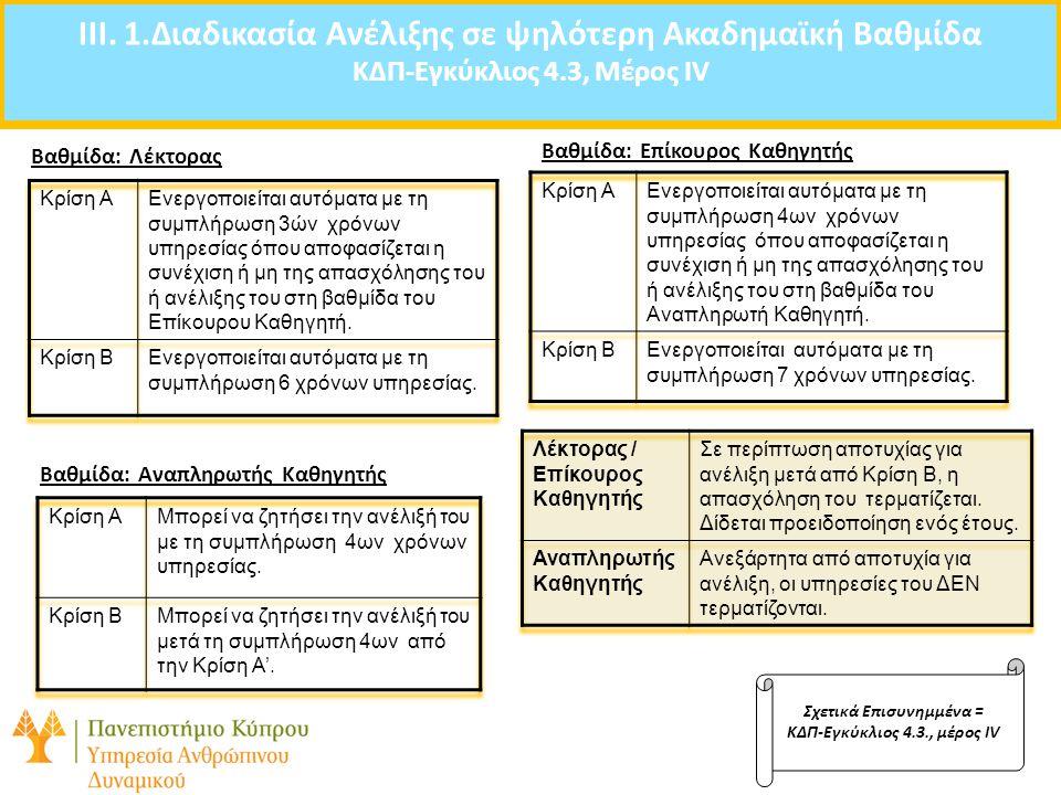 Agenda: IIΙ. 1.Διαδικασία Ανέλιξης σε ψηλότερη Ακαδημαϊκή Βαθμίδα