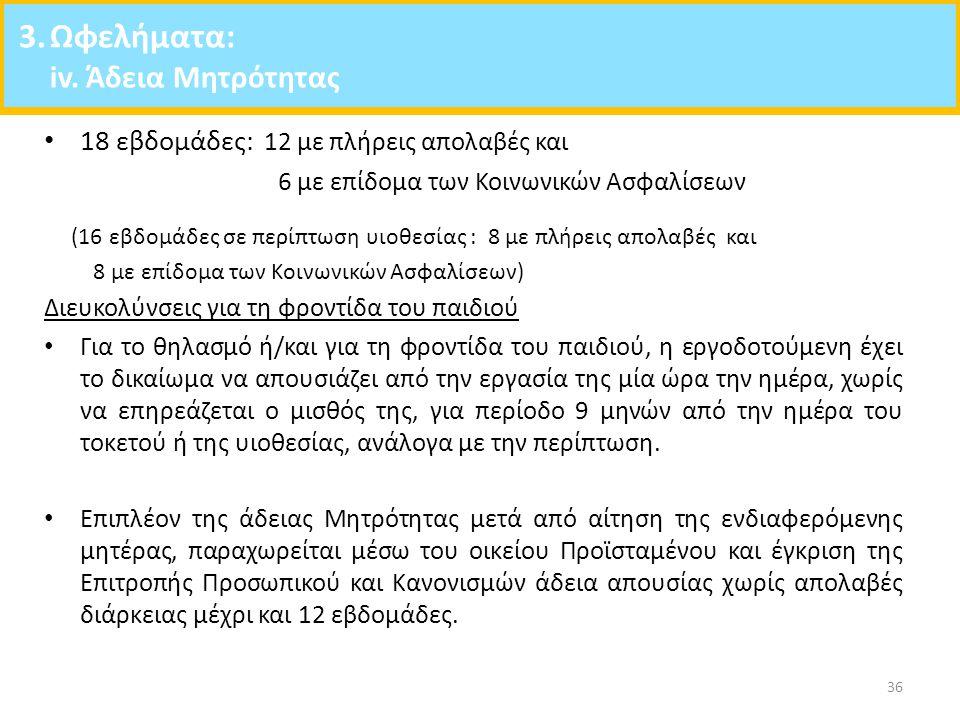 3. Ωφελήματα: iv. Άδεια Μητρότητας