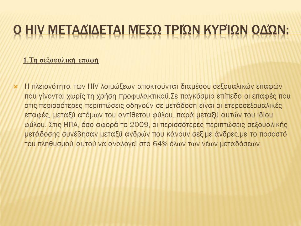 Ο HIV μεταδίδεται μέσω τριών κυρίων οδών: