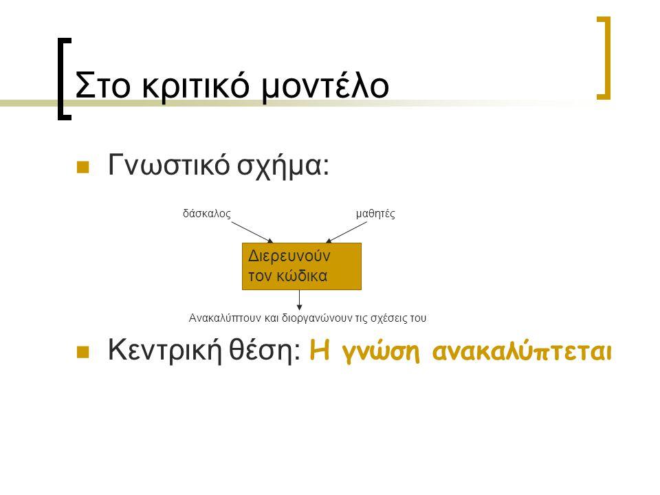 Στο κριτικό μοντέλο Γνωστικό σχήμα:
