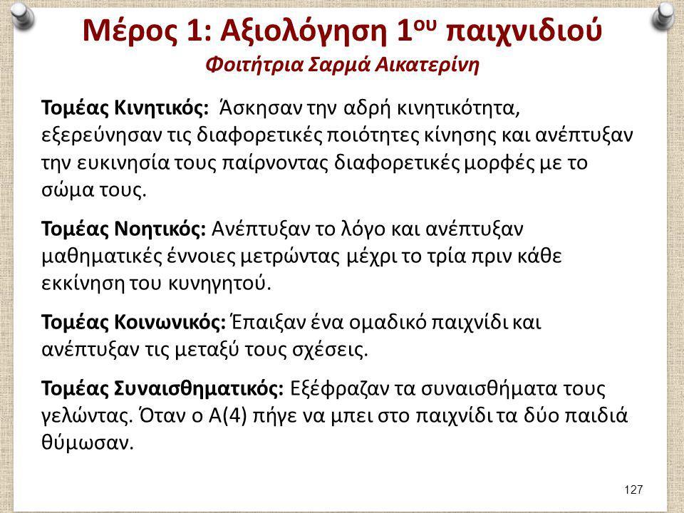 Μέρος 1: Καταγραφή 2ου παιχνιδιού Φοιτήτρια Σαρμά Αικατερίνη