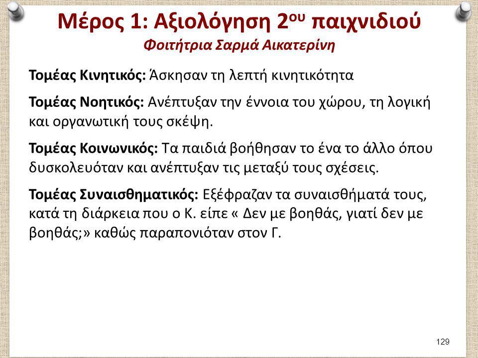 Μέρος 1: Καταγραφή 3ου παιχνιδιού Φοιτήτρια Σαρμά Αικατερίνη