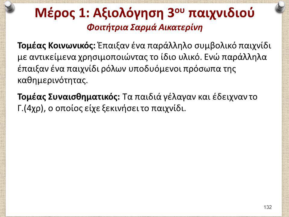 Μέρος 1: Καταγραφή 4ου παιχνιδιού Φοιτήτρια Σαρμά Αικατερίνη