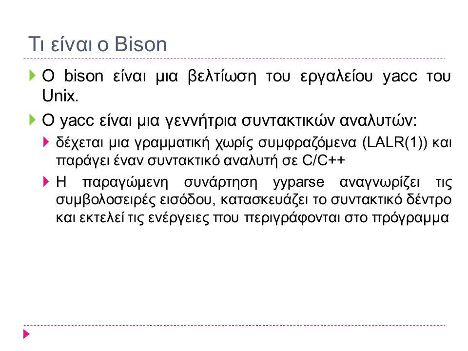 Τι είναι ο Bison Ο bison είναι μια βελτίωση του εργαλείου yacc του Unix. O yacc είναι μια γεννήτρια συντακτικών αναλυτών: