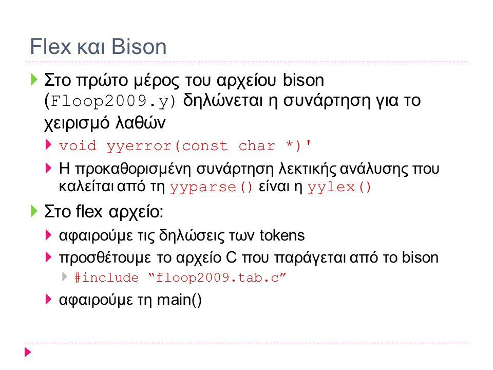 Flex και Bison Στο πρώτο μέρος του αρχείου bison (Floop2009.y) δηλώνεται η συνάρτηση για το χειρισμό λαθών.