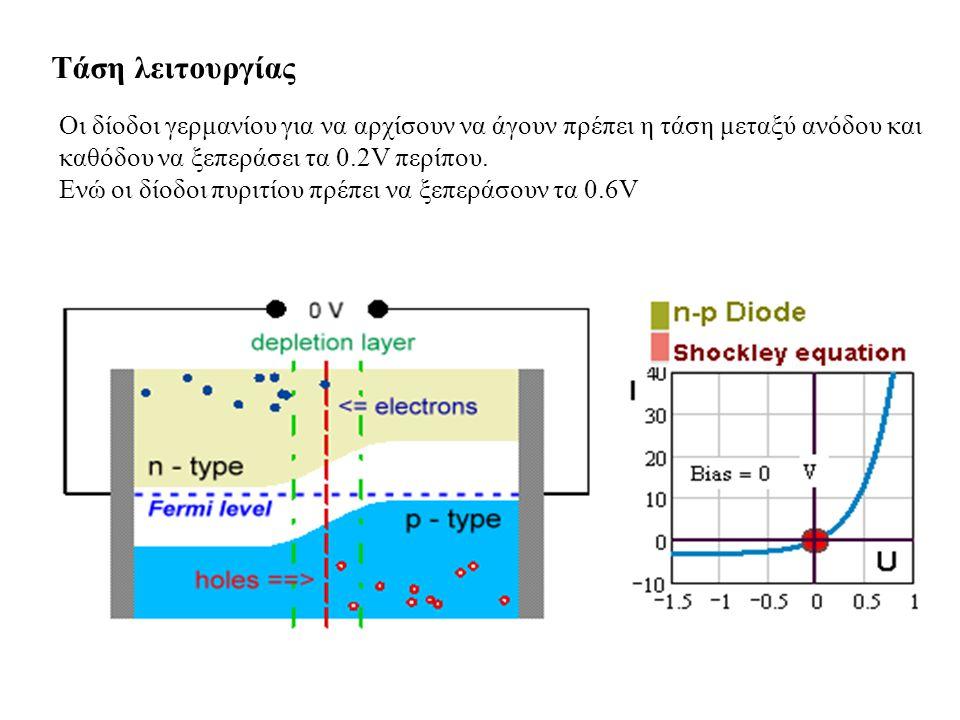 Τάση λειτουργίας Οι δίοδοι γερμανίου για να αρχίσουν να άγουν πρέπει η τάση μεταξύ ανόδου και καθόδου να ξεπεράσει τα 0.2V περίπου.