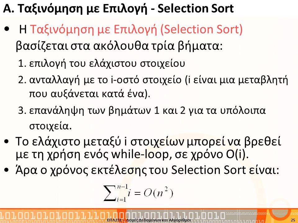 A. Ταξινόμηση με Επιλογή - Selection Sort