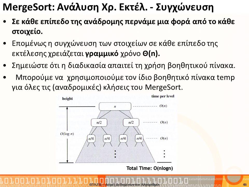 MergeSort: Ανάλυση Χρ. Εκτέλ. - Συγχώνευση