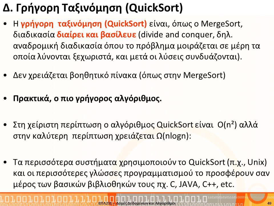 Δ. Γρήγορη Ταξινόμηση (QuickSort)