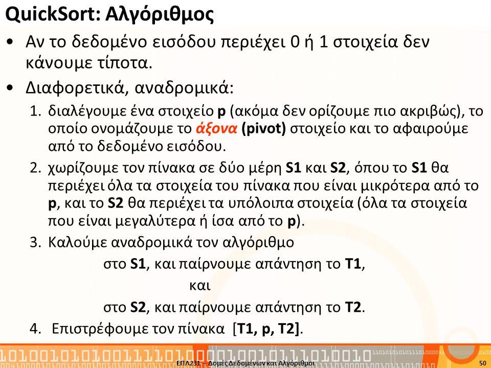 QuickSort: Αλγόριθμος