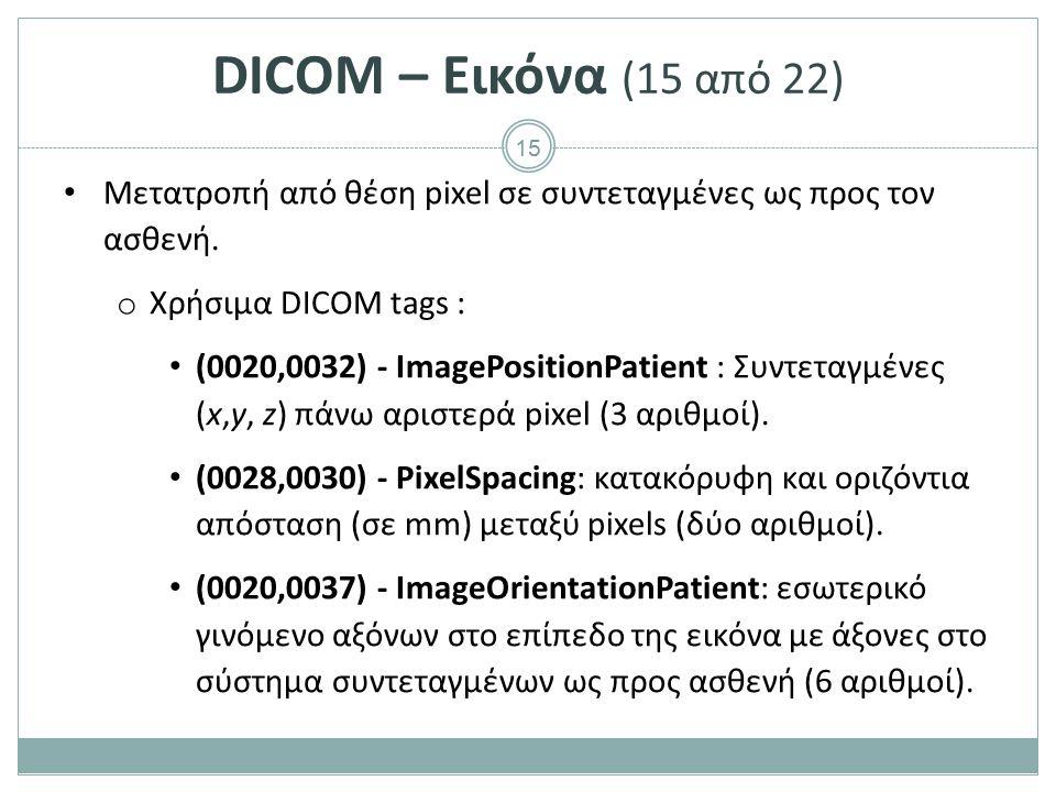DICOM – Εικόνα (16 από 22) Μετατροπή από θέση pixel σε συντεταγμένες ως προς τον ασθενή. ImagePositionPatient.