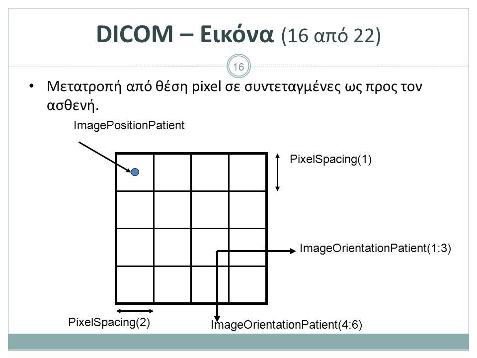 DICOM – Εικόνα (17 από 22) Μετατροπή από θέση pixel σε συντεταγμένες ως προς τον ασθενή.