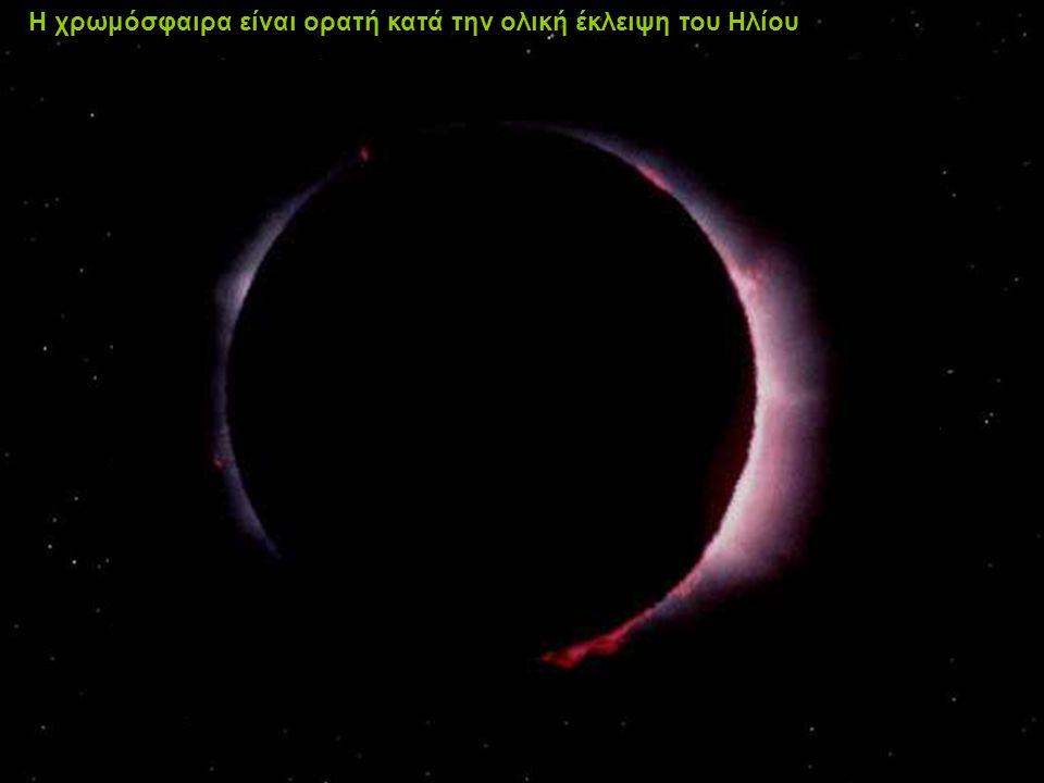 Η χρωμόσφαιρα είναι ορατή κατά την ολική έκλειψη του Ηλίου