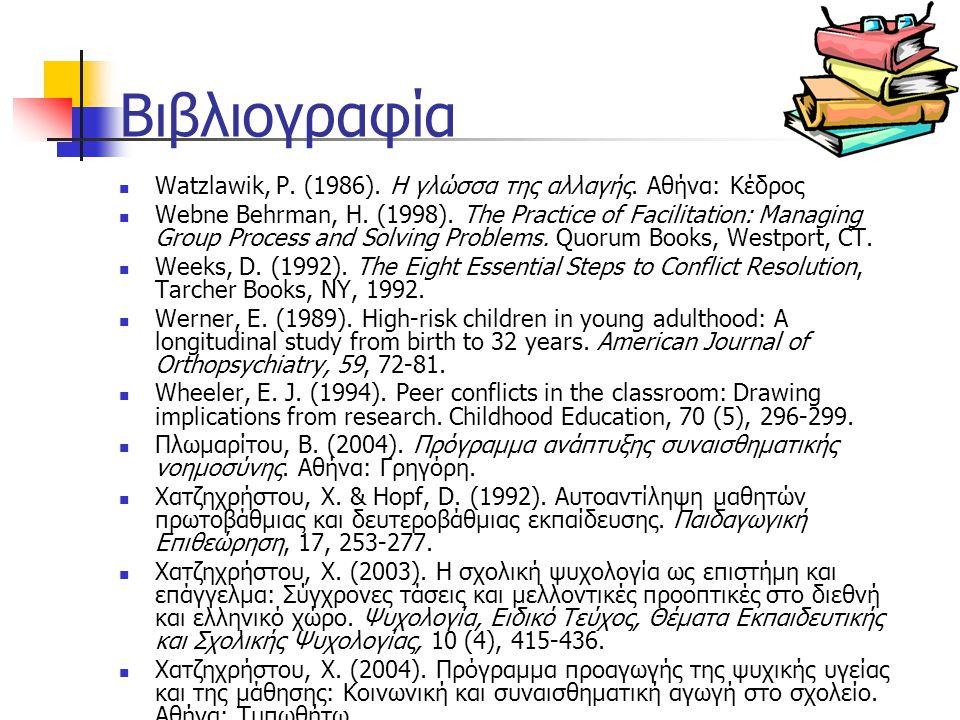 Βιβλιογραφία Watzlawik, P. (1986). Η γλώσσα της αλλαγής. Αθήνα: Κέδρος