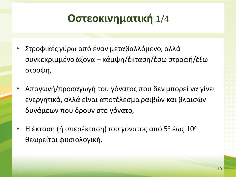 Οστεοκινηματική 2/4 Παθητική κάμψη – 130ο έως 140ο,