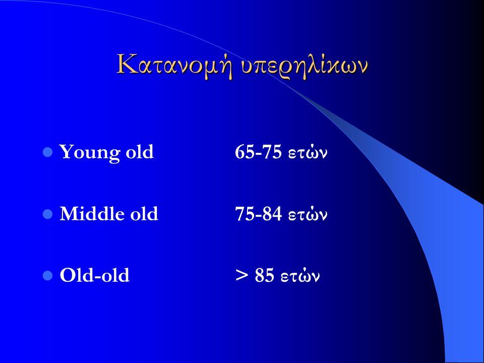 Κατανομή υπερηλίκων Young old 65-75 ετών Middle old 75-84 ετών