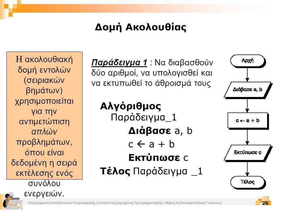Αλγόριθμος Παράδειγμα_1 Διάβασε a, b c  a + b Εκτύπωσε c