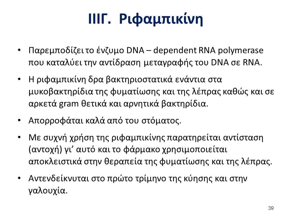 IV. Αντιβιοτικά που παρεμποδίζουν την πρωτεϊνοσύνθεση