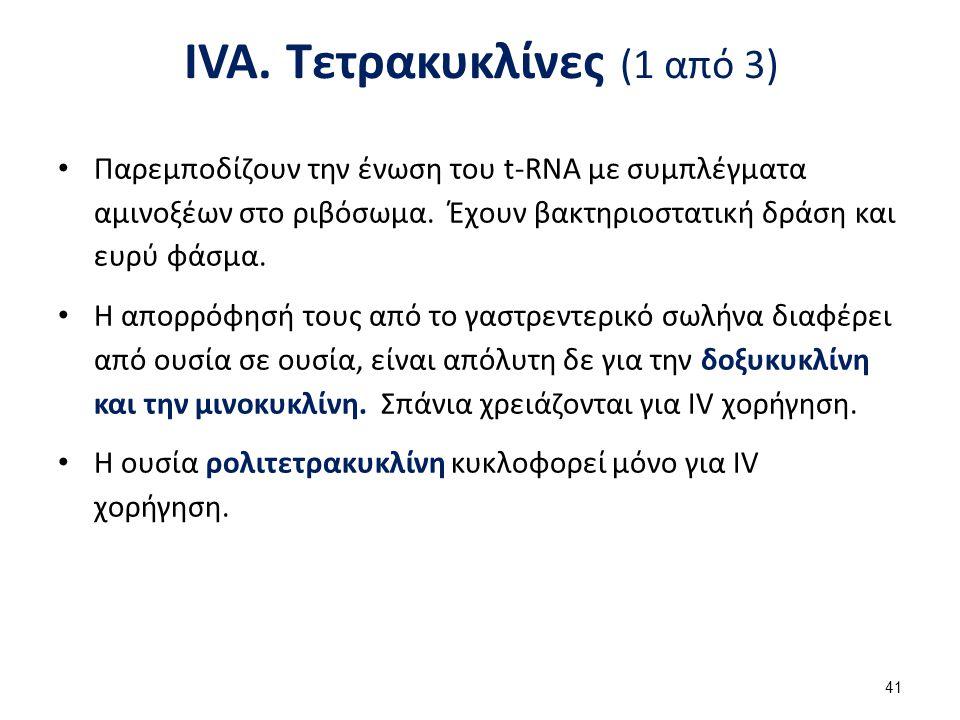 IVA. Τετρακυκλίνες (2 από 3)