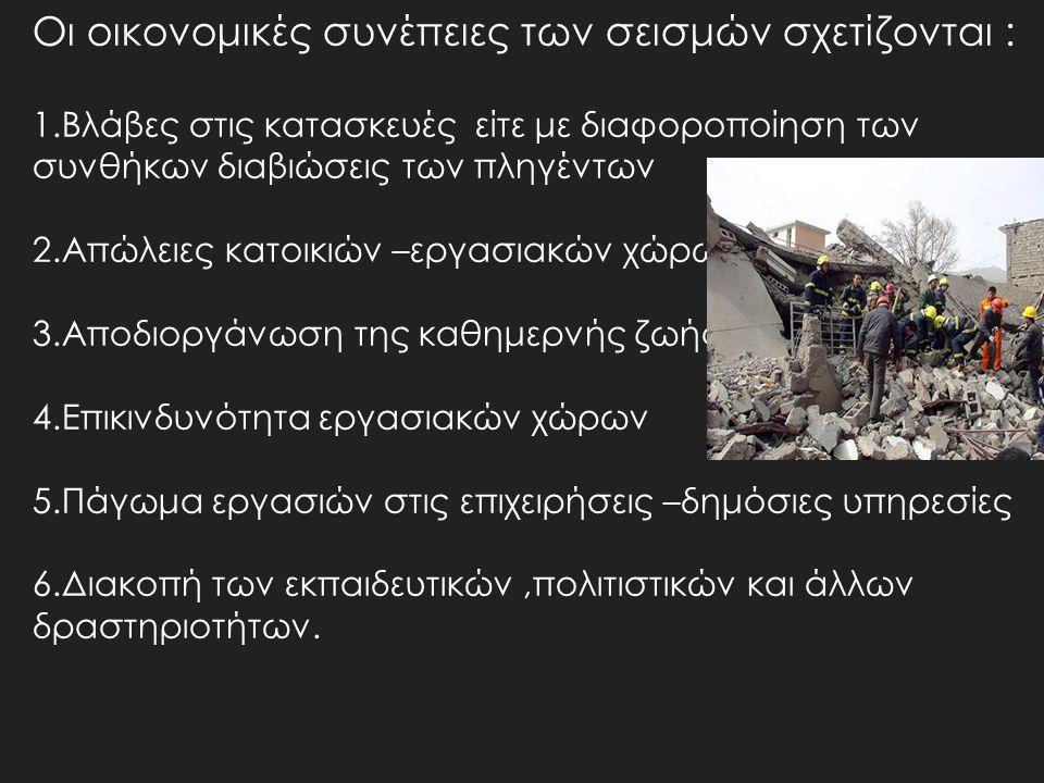 Οι οικονομικές συνέπειες των σεισμών σχετίζονται :