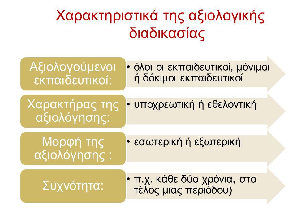 Χαρακτηριστικά της αξιολογικής διαδικασίας