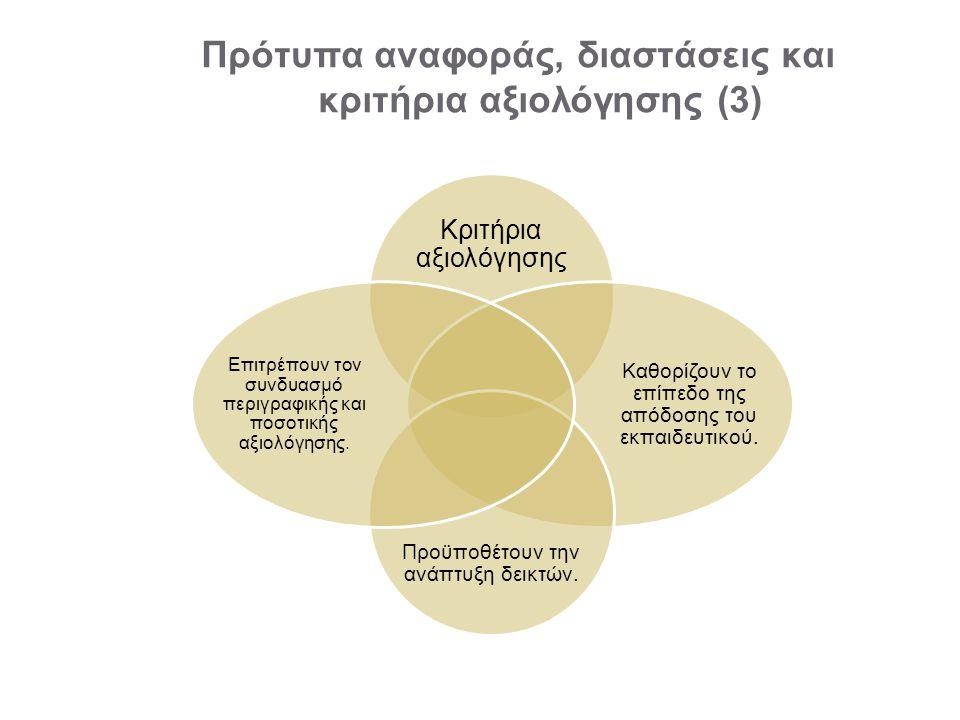 Πρότυπα αναφοράς, διαστάσεις και κριτήρια αξιολόγησης (3)