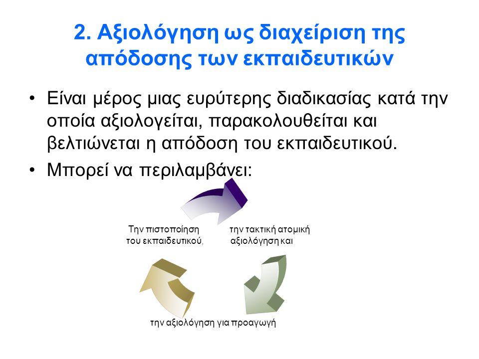 2. Αξιολόγηση ως διαχείριση της απόδοσης των εκπαιδευτικών