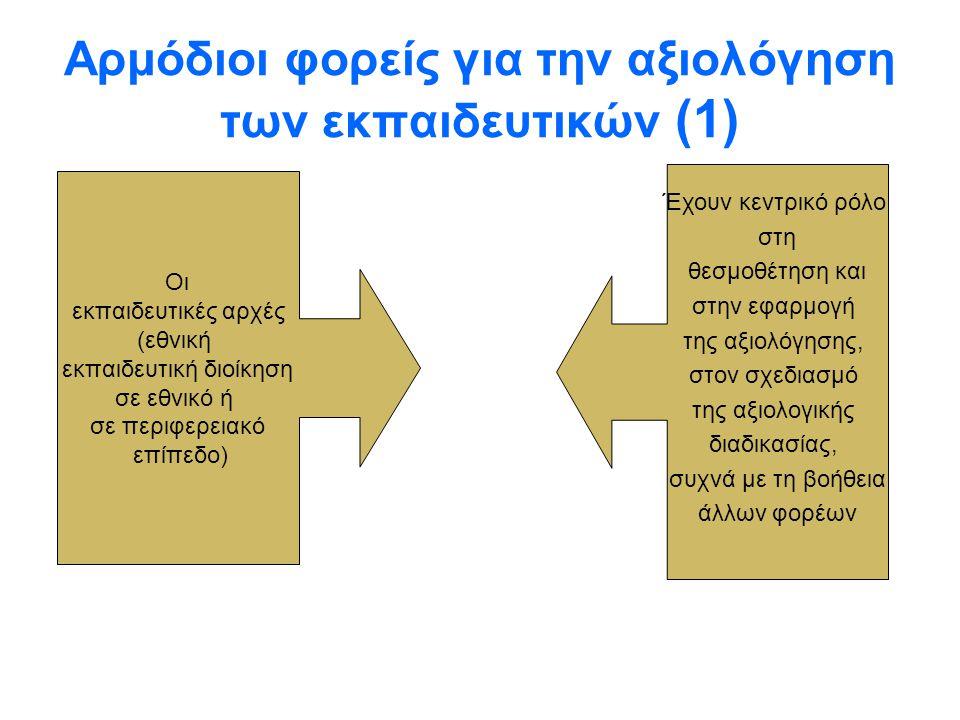 Αρμόδιοι φορείς για την αξιολόγηση των εκπαιδευτικών (1)