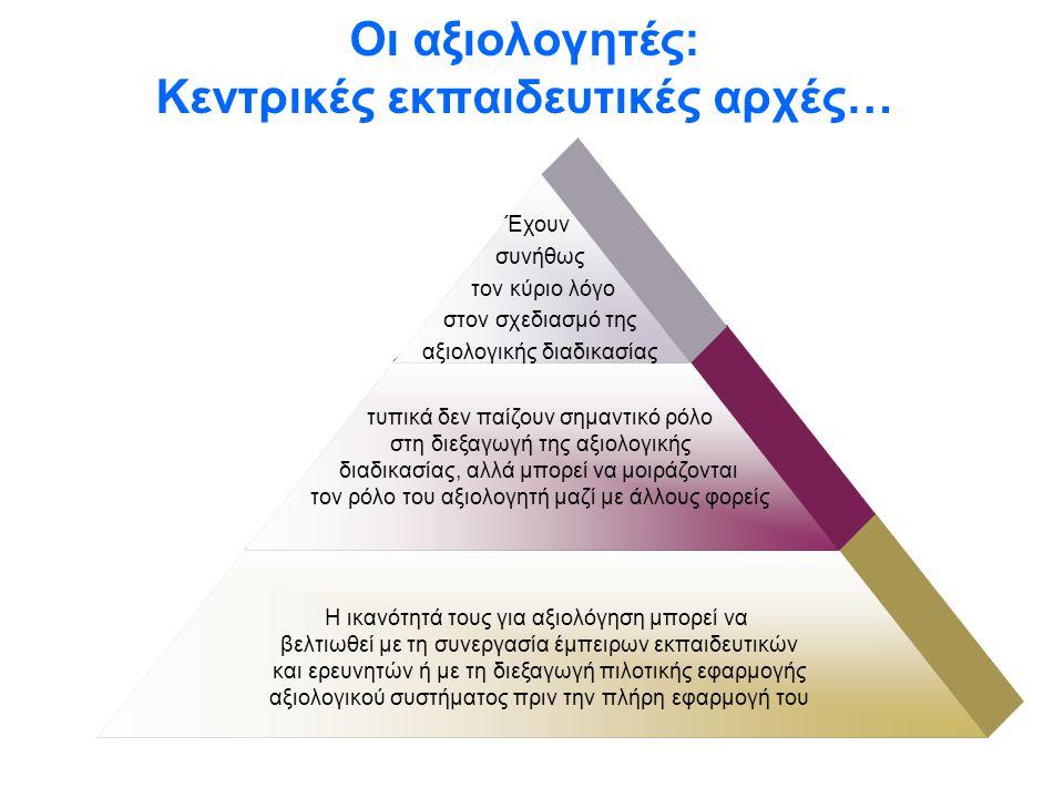 Οι αξιολογητές: Κεντρικές εκπαιδευτικές αρχές…