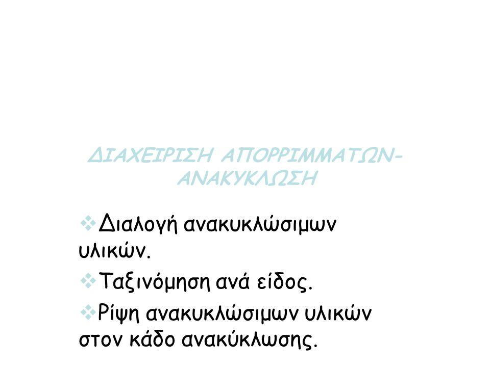 ΔΙΑΧΕΙΡΙΣΗ ΑΠΟΡΡΙΜΜΑΤΩΝ-ΑΝΑΚΥΚΛΩΣΗ