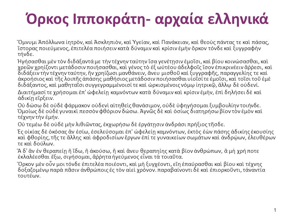 Όρκος Ιπποκράτη- απόδοση στα νέα ελληνικά
