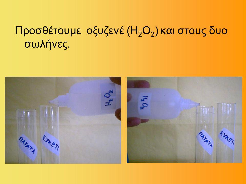 Προσθέτουμε οξυζενέ (Η2Ο2) και στους δυο σωλήνες.