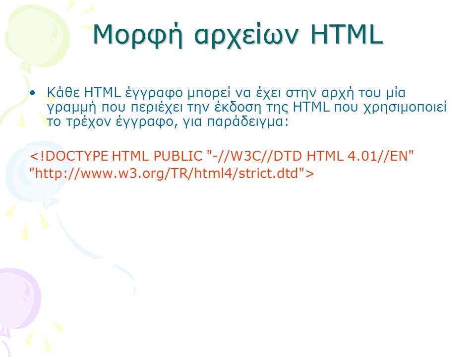 Μορφή αρχείων HTML