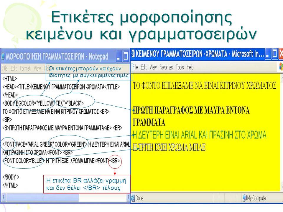 Ετικέτες μορφοποίησης κειμένου και γραμματοσειρών