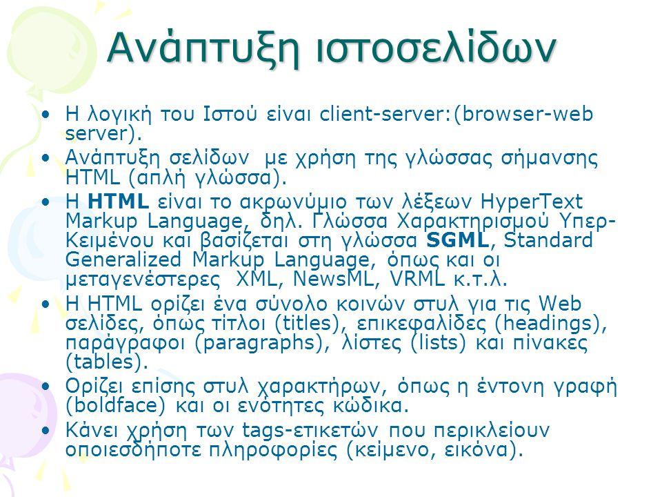 Ανάπτυξη ιστοσελίδων Η λογική του Ιστού είναι client-server:(browser-web server).