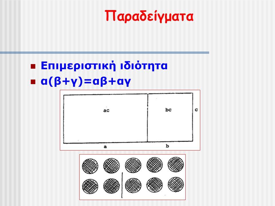 Παραδείγματα Επιμεριστική ιδιότητα α(β+γ)=αβ+αγ