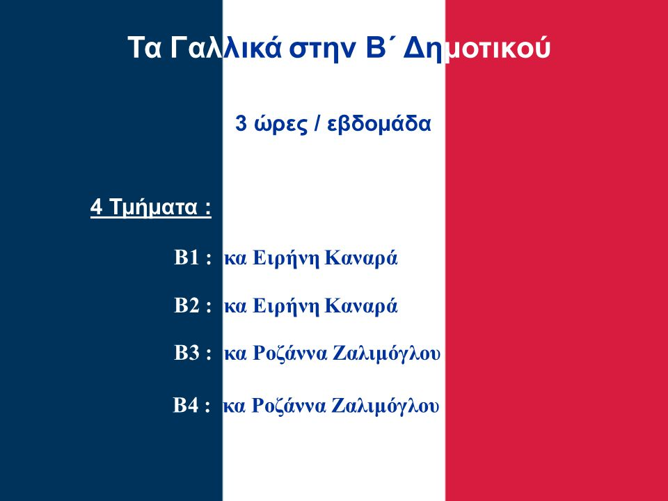 Τα Γαλλικά στην Β΄ Δημοτικού