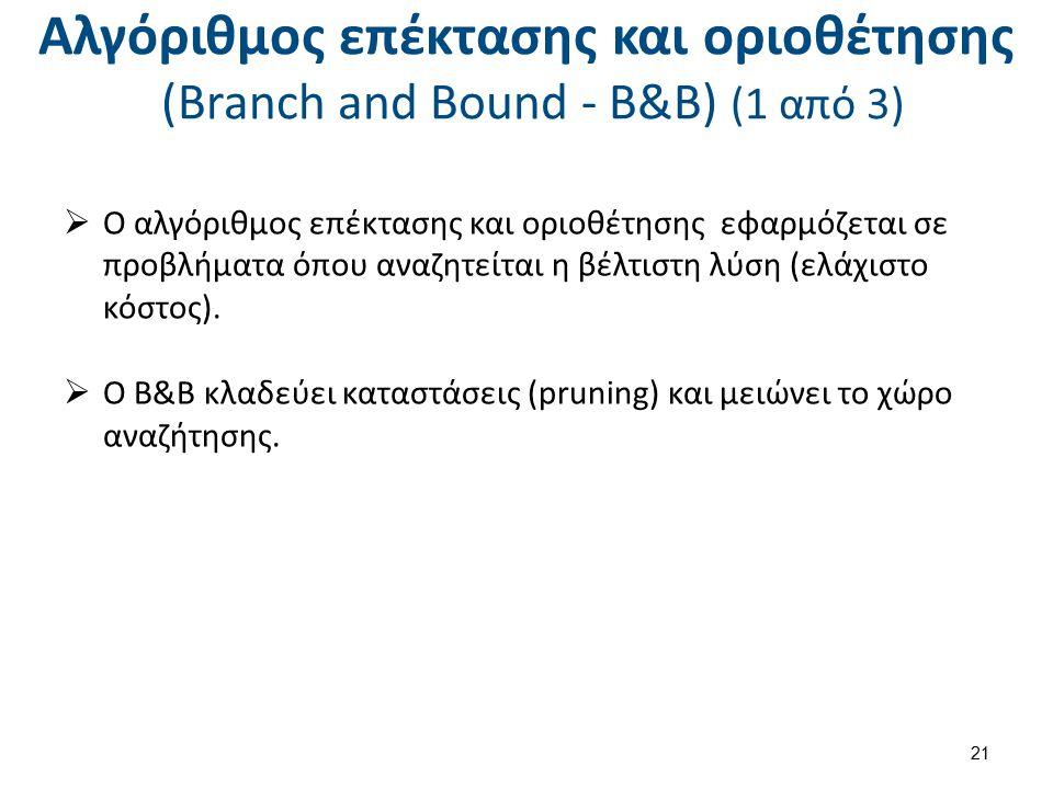 Αλγόριθμος επέκτασης και οριοθέτησης (Branch and Bound - B&B) (2 από 3)