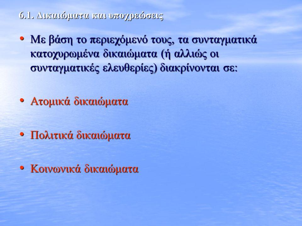 6.1. Δικαιώματα και υποχρεώσεις
