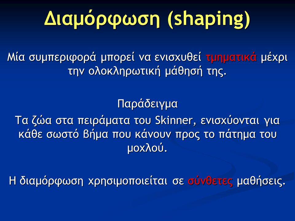 Η διαμόρφωση χρησιμοποιείται σε σύνθετες μαθήσεις.