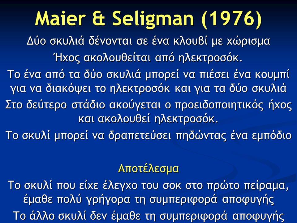 Maier & Seligman (1976) Δύο σκυλιά δένονται σε ένα κλουβί με χώρισμα